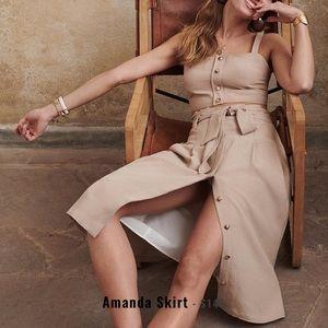 Sézane Amanda Skirt in Beige, Size 34